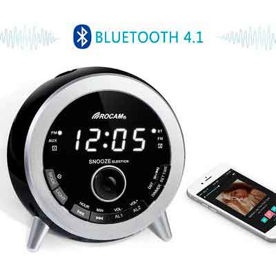 ROCAM Bluetooth 4.1 Digital FM Alarm Clock Radio with Dual Alarm