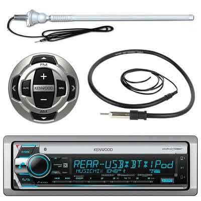 Kenwood MP3/USB/AUX Marine Boat Yacht Stereo Bluetooth Receiver CD Player Bundle Combo w/ RC35MR Wired Remote Control