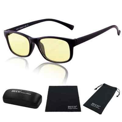 Duco Full Rim Ergonomic Advanced Computer Gaming Glasses with Amber Lens Tint 8016 Matte Black