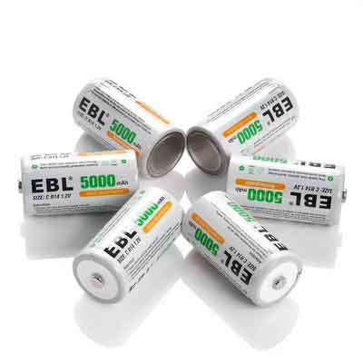 EBL 5000mAh Ni-MH Rechargeable C Batteries