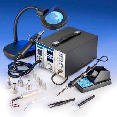 X-TRONIC XTR-4040-XTS Digital Hot Air Rework & Soldering Iron Station Bundle