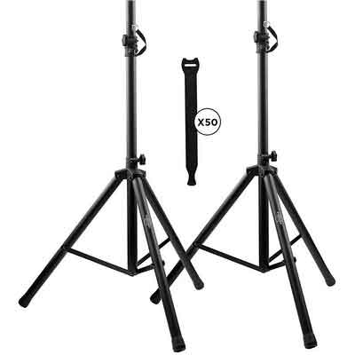 Pa Speaker Stands Pair Pro Adjustable Height with 50 Cable Ties Kit To Secure Cable to stand