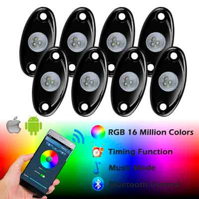 Ampper RGB LED Rock Lights with Bluetooth Control