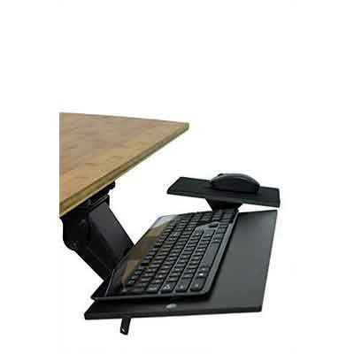 Uncaged Ergonomics Ergonomic Under Desk Keyboard Tray with Mouse Pad | Adjustable Height & Angle with Negative Tilt