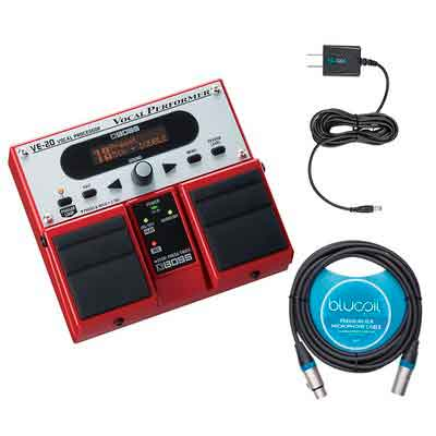 Boss VE-20 Vocal Processor Multi Effects Pedal -INCLUDES- Blucoil Power Supply Slim AC/DC Adapter 9V DC 670mA with US Plug AND 10' XLR Microphone Cable