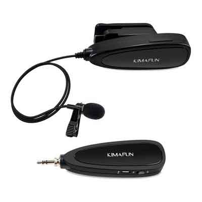 KIMAFUN 2.4G Wireless Lavalier Microphone with Voice Amplifier and Recording for iPhone Camera PC Laptop for Teachers