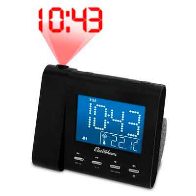 Electrohome EAAC601 Projection Alarm Clock with AM/FM Radio