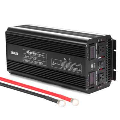 iRULU 3000W Microprocessor Power Inverter DC 12V to 110V AC Car Inverter With 2 AC Outlets 2A USB Car Adapter -Black