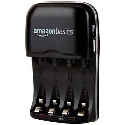 AmazonBasics Ni-MH AA & AAA Battery Charger With USB Port