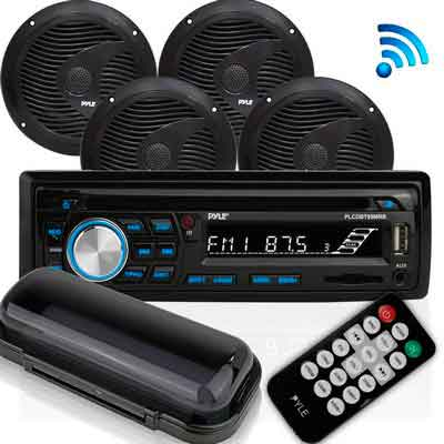 Pyle Bluetooth Marine Audio Stereo Kit [Radio Receiver & Waterproof Speakers] Hands-Free Talking