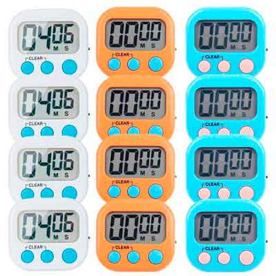 12 Pack Small Digital Kitchen Timer Magnetic Back And ON/OFF Switch