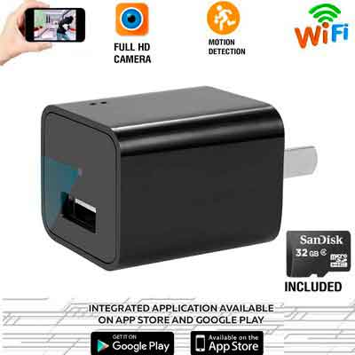 Wifi Hidden Spy Camera 32GB Included-1080P HD USB Wall Charger Hidden Camera - Mini Nanny Cam