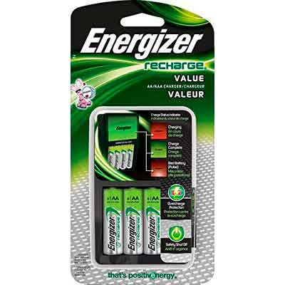 Energizer Recharge Value Charger with 4 AA NiMH Rechargeable Batteries Included