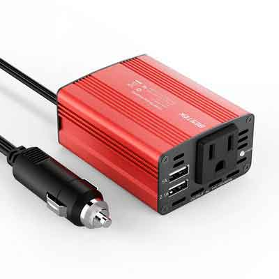 BESTEK 150W Power Inverter DC 12V to 110V Car AC Adapter with 3.1A Dual USB Charging Ports Red
