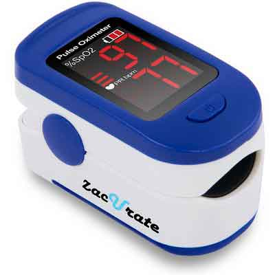 Zacurate® Fingertip Pulse Oximeter Blood Oxygen Saturation Monitor with batteries and lanyard...
