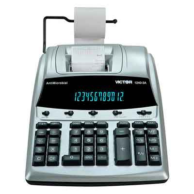 Victor 1240-3A 12 Digit Heavy Duty Commercial Printing Calculator with Built-In AntiMicrobial Protection